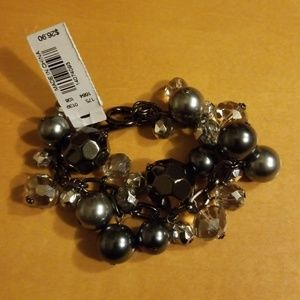NWT The Limited crystal and pearl bracelet
